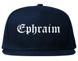 Ephraim Utah UT Old English Mens Snapback Hat Navy Blue
