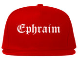 Ephraim Utah UT Old English Mens Snapback Hat Red