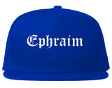 Ephraim Utah UT Old English Mens Snapback Hat Royal Blue