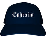 Ephraim Utah UT Old English Mens Trucker Hat Cap Navy Blue