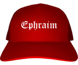 Ephraim Utah UT Old English Mens Trucker Hat Cap Red