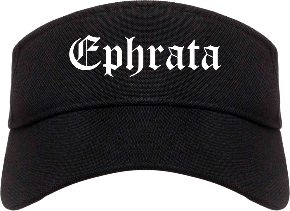 Ephrata Washington WA Old English Mens Visor Cap Hat Black