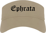 Ephrata Washington WA Old English Mens Visor Cap Hat Khaki