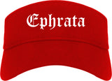 Ephrata Washington WA Old English Mens Visor Cap Hat Red