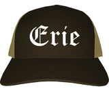 Erie Pennsylvania PA Old English Mens Trucker Hat Cap Brown