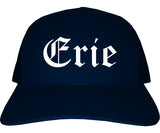 Erie Pennsylvania PA Old English Mens Trucker Hat Cap Navy Blue