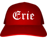 Erie Pennsylvania PA Old English Mens Trucker Hat Cap Red