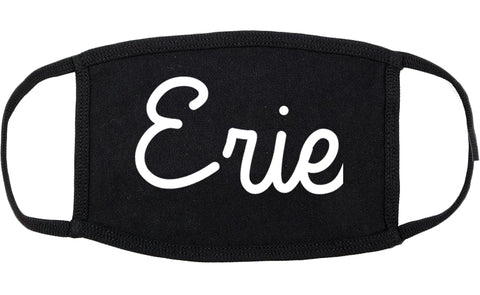 Erie Pennsylvania PA Script Cotton Face Mask Black