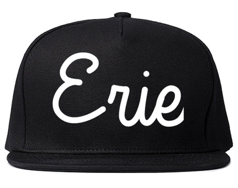 Erie Pennsylvania PA Script Mens Snapback Hat Black