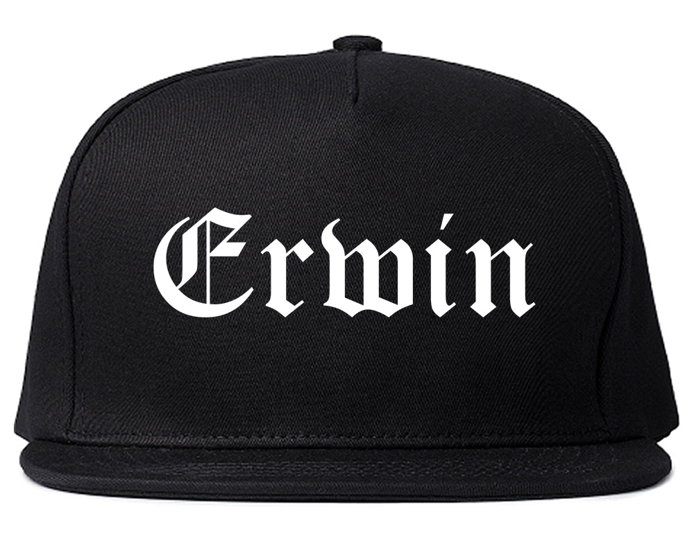 Erwin North Carolina NC Old English Mens Snapback Hat Black