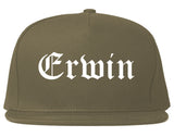 Erwin North Carolina NC Old English Mens Snapback Hat Grey