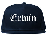 Erwin North Carolina NC Old English Mens Snapback Hat Navy Blue