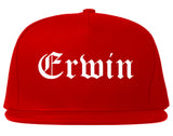 Erwin North Carolina NC Old English Mens Snapback Hat Red
