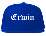 Erwin North Carolina NC Old English Mens Snapback Hat Royal Blue