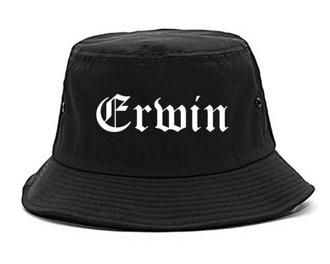 Erwin North Carolina NC Old English Mens Bucket Hat Black