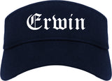 Erwin Tennessee TN Old English Mens Visor Cap Hat Navy Blue