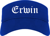 Erwin Tennessee TN Old English Mens Visor Cap Hat Royal Blue