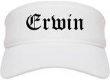 Erwin Tennessee TN Old English Mens Visor Cap Hat White
