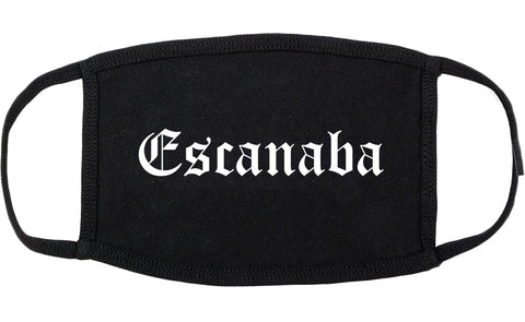 Escanaba Michigan MI Old English Cotton Face Mask Black