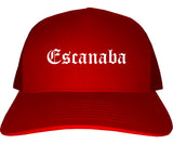 Escanaba Michigan MI Old English Mens Trucker Hat Cap Red