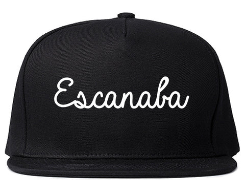 Escanaba Michigan MI Script Mens Snapback Hat Black