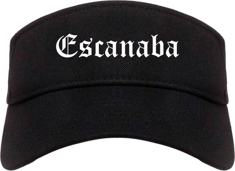 Escanaba Michigan MI Old English Mens Visor Cap Hat Black