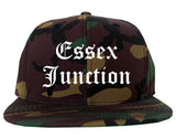 Essex Junction Vermont VT Old English Mens Snapback Hat Army Camo