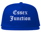 Essex Junction Vermont VT Old English Mens Snapback Hat Royal Blue