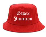 Essex Junction Vermont VT Old English Mens Bucket Hat Red