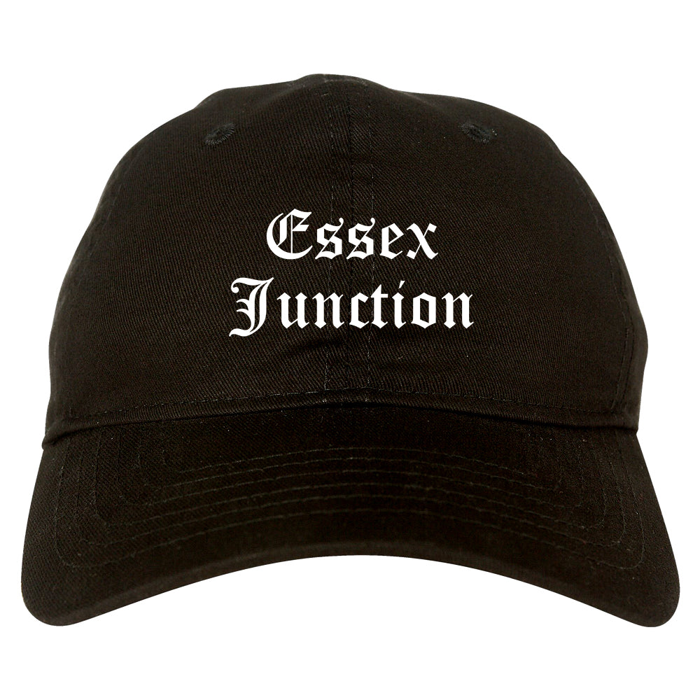 Essex Junction Vermont VT Old English Mens Dad Hat Baseball Cap Black
