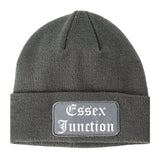 Essex Junction Vermont VT Old English Mens Knit Beanie Hat Cap Grey