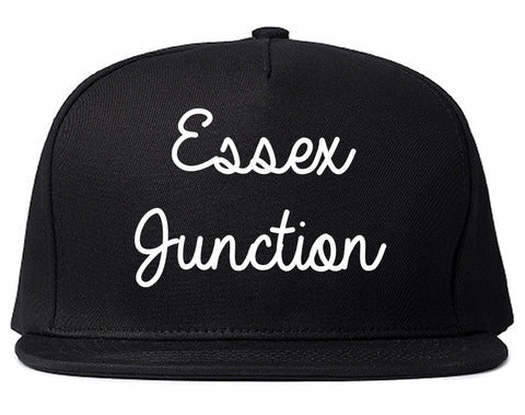 Essex Junction Vermont VT Script Mens Snapback Hat Black