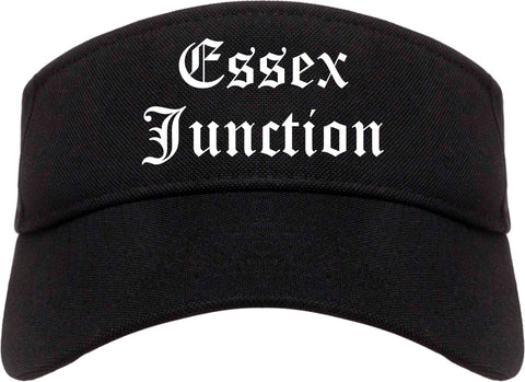 Essex Junction Vermont VT Old English Mens Visor Cap Hat Black