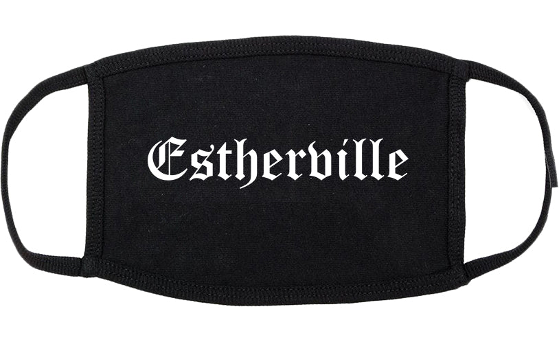 Estherville Iowa IA Old English Cotton Face Mask Black