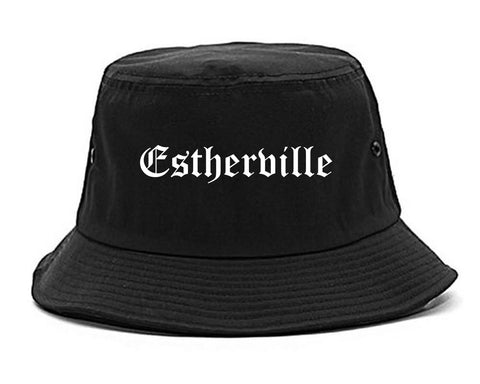 Estherville Iowa IA Old English Mens Bucket Hat Black