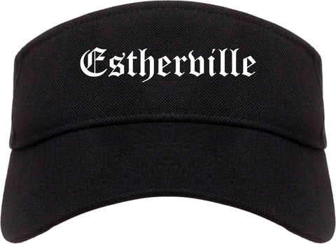 Estherville Iowa IA Old English Mens Visor Cap Hat Black
