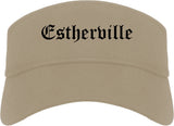 Estherville Iowa IA Old English Mens Visor Cap Hat Khaki
