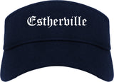 Estherville Iowa IA Old English Mens Visor Cap Hat Navy Blue