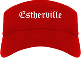Estherville Iowa IA Old English Mens Visor Cap Hat Red
