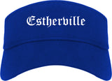 Estherville Iowa IA Old English Mens Visor Cap Hat Royal Blue