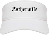 Estherville Iowa IA Old English Mens Visor Cap Hat White