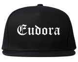Eudora Kansas KS Old English Mens Snapback Hat Black