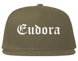 Eudora Kansas KS Old English Mens Snapback Hat Grey