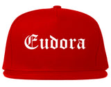 Eudora Kansas KS Old English Mens Snapback Hat Red
