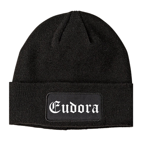 Eudora Kansas KS Old English Mens Knit Beanie Hat Cap Black