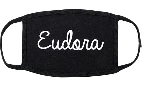 Eudora Kansas KS Script Cotton Face Mask Black