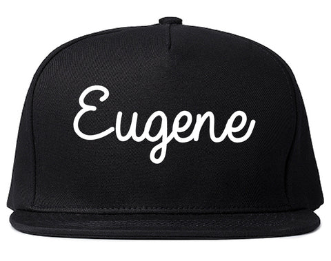 Eugene Oregon OR Script Mens Snapback Hat Black