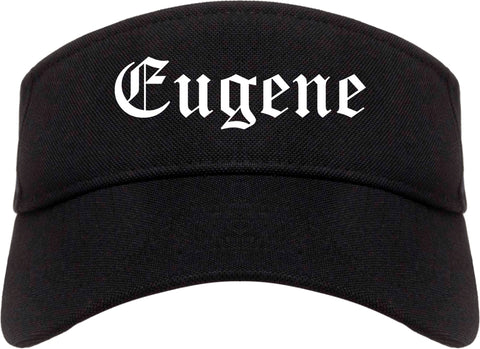 Eugene Oregon OR Old English Mens Visor Cap Hat Black