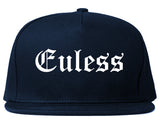 Euless Texas TX Old English Mens Snapback Hat Navy Blue