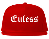 Euless Texas TX Old English Mens Snapback Hat Red